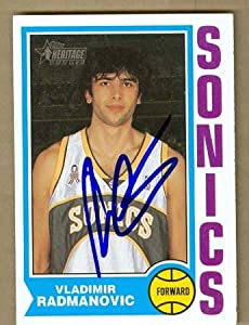 Vladimir Radmanovic Autographed Hand Signed Basketball Card (Seattle Sonics) 2002... by Hall of Fame Memorabilia