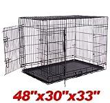 "Pawhut 48"" 2-door Folding Wire Pet Dog Crate w/ Divider - 48""L x 30""W x 33""H"