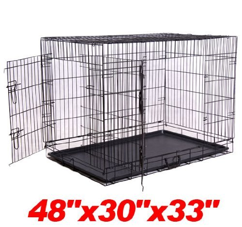 "Pawhut 48"" 2-Door Folding Wire Pet Dog Crate W/ Divider - 48""L X 30""W X 33""H front-40516"