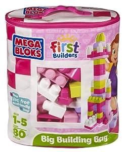 Mega Bloks Big Building Bag, 80-Piece (Pink)