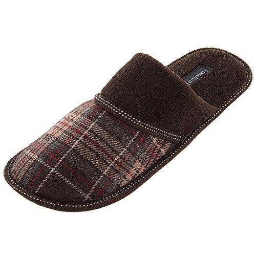 perry-ellis-portfolio-mens-8-13-brown-plaid-slip-on-slippers-xl-11-12