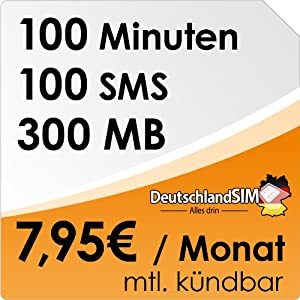 DeutschlandSIM SMART 100 [SIM und Micro-SIM] monatlich kündbar (300MB Daten-Flat, 100 Frei-Minuten, 100 Frei-SMS, 7,95 Euro/Monat, 15ct Folgeminutenpreis) O2-Netz