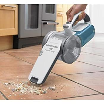 Stanley / This Black & Decker Dustbuster 18V Pivoting Cyclonic Hand Vac features an innovative, patented nozzle that pivots to clean up high, down low and even in tight spaces. Its high performance motor provides superior suction capability when comp...