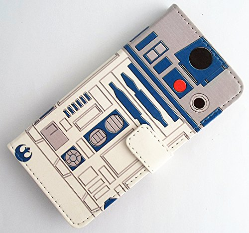 Star Wars inspired R2D2 Robot Pattern Slim Wallet Card Flip Stand PU Leather Pouch Case Cover For 2014 Apple iphone 6 4.7 inch