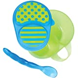 Sassy First Solids Feeding Bowl w/ Spoon – Green & Blue