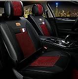 (ファーストクラス)FirstClass フォーシーズン 前部カーシートカバー 車保護シート フロント用シートカバー ビスコース&PUレザー製 通気性に富む 快適 スムーズ 汎用 5シート車 2枚 ブラック&レッド