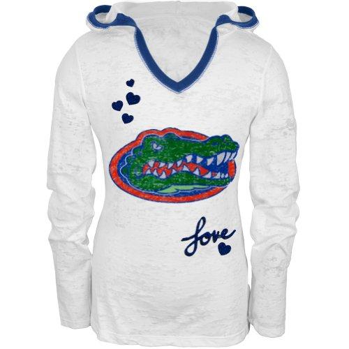 Florida Gators - Girls Youth Burnout Hooded Long Sleeve - Youth 18 White