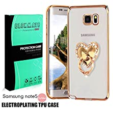 buy [Ring Buckles + Electroplate Frame Tpu] Samsung Galaxy Note 5 Clear Case, Elekmate® Ultra Thin Slim Protective Back Cover Case For Galaxy Note 5 [Cz Diamond] (Gold+White Heart)