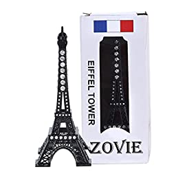ZOVIE Creative Metal Paris Eiffel Tower Decor With Rhinestones( 7in Black)