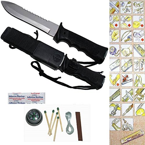 """The Jungle King"" 12"" Sawbacked Survival Knife Hoo7 - Kit Included"