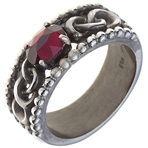 Women's Ring with Garnet 925Silver blackened silver woven ring
