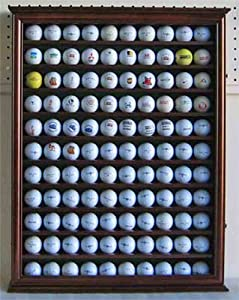 110 Golf Ball Display Case Wall Cabinet Holder, with glass door, Solid Wood GB05-WALN by DisplayGifts