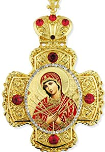 Seven Sorrows of Virgin Mary of Seven Swords Jeweled Wall Cross Russian Icon Cross Ornament Room Wall Decoration