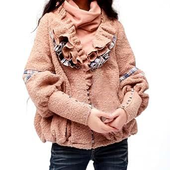 Artka Women'S Patchwork Short Ruffled Neck Puff Sleeve Coat Pink Large