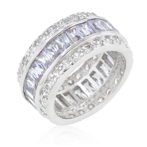 White Gold Rhodium Bonded to .925 Sterling Silver Eternity Band with Lavender Cubic Zirconia Baguettes and Round Cut Clear Cubic Zirconia in Silvertone