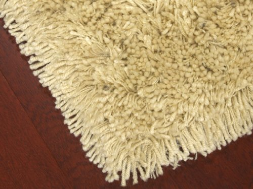 """Euro"" Shag Rug 4' x 6' - Light Tan, Soft and Extra Thick Twisted Acrylic Yarn, Hand Tufted, Cotton Backing"