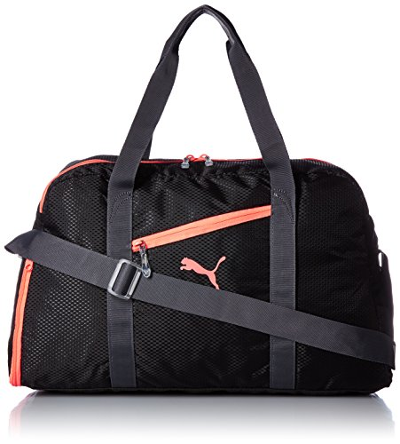 Puma - Borsone da palestra Fit at Sports Duffle, Unisex, Fitness Tasche Fit AT Sports Duffle, Black/Periscope/Fluro Peach, Taglia unica