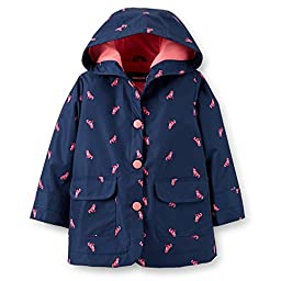 Carter\'s Baby Girls\' Hooded Rain Jacket (24 Months, Navy Kitty Print)