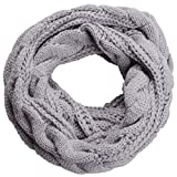 NEOSAN Womens Thick Ribbed Knit Winter Infinity Circle Loop Scarf Twist Grey