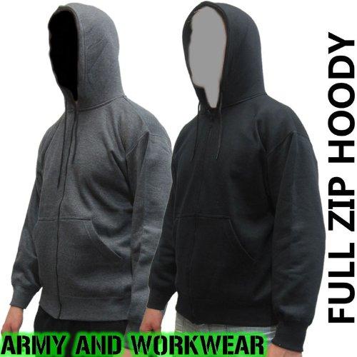 Mens Plain Charcoal Grey Zip Up hooded Fleece Top Bodybuilders, Gym, Tracksuit, Yoga Top