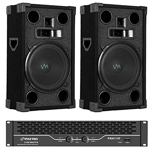 "Buy Bargain 2) New VM Audio VAS312P 1800 Watt 3 Way 12"" DJ PA Loud Speakers + PQA3100 DJ Amp"