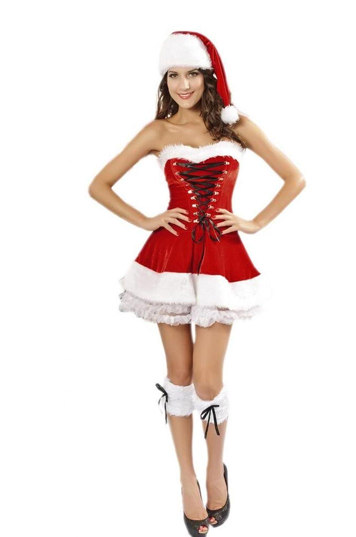 Lukis Damen Babydoll 3Pcs Weihnachten Bandeau Kostüm Cosplay Dessous Minikleid kaufen