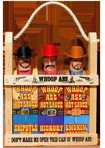 Whoop Ass Hot Sauce Gift Set - In A Wooden Crate All Three Whoop Ass Hot Sauce Cowboys Are Packed Into The Local Saloon And Theyre Packin Heat Watch Yourself Pardner Makes The Perfect Gift For Any Hot Sauce Connoisseur by Southwest Specialty Foods