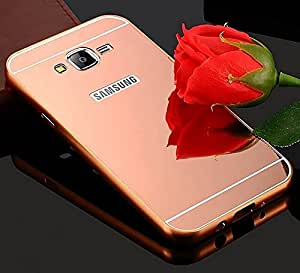 ARNAV Branded Luxury Metal Bumper Acrylic Mirror Back Cover Case For Samsung Galaxy A7 - Rose (GOLD) Plated