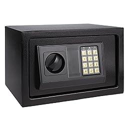 ANCHEER Electronic Digital Safe Box Hidden Wall/Floor Anchoring Design Home Office Safe Box, Double Deadbolt Lock,Black shipping from CA.US(AN-SB003 12.1 x 7.8 x 7.8inch)