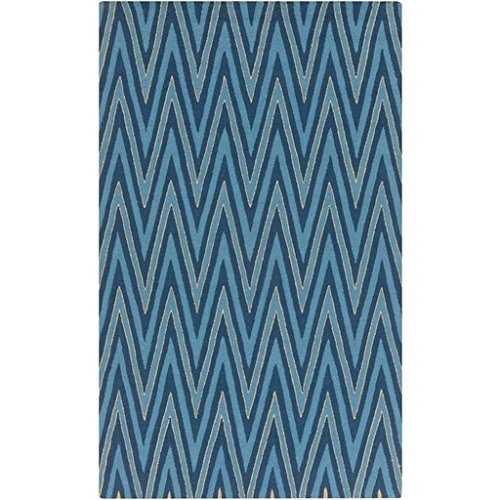 5' X 8' Vibrant Chevrons Cerulean Blue And Electric Yellow Hand Hooked Area Throw Rug