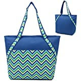 Super Sachi Hot/Cold 50-Can Insulated Cooler Picnic Lunch Bag Chevron Blue