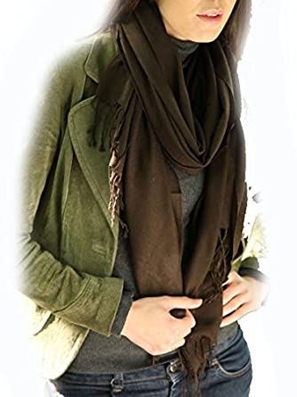 Ladies Fraas 100% Plain Wool Wrap In 6 Colours - One Size - Brown