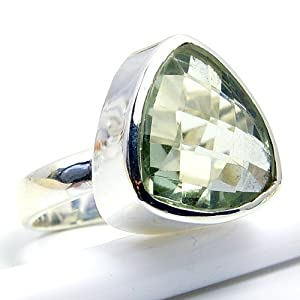 Sparkling Sterling Silver Green Amethyst Ring, Size 4.75