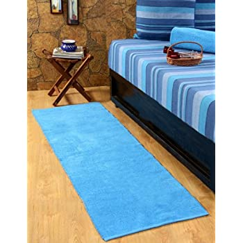 pas cher homescapes tapis de couloir uni chenille 100 coton tapis bleu 66 x 200 cm. Black Bedroom Furniture Sets. Home Design Ideas