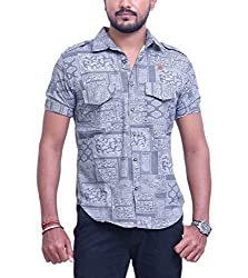 PP Shirts Men Denim Casual Shirt ( Grey XXXL )