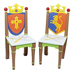 Fantasy Fields - Knights & Dragon Thematic Kids Wooden 2 Chairs Set | Imagination Inspiring Hand Crafted & Hand Painted Details | Non-Toxic, Lead Free Water-based Paint