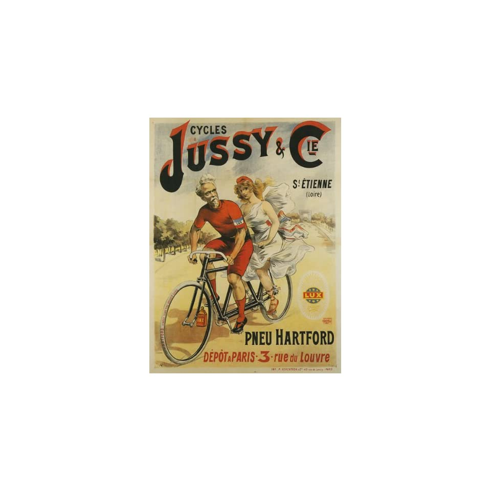 Bicycle Bike Cycles Jussy Lady MAN Riding Pneu Tire Hartford French France 30 X 40 Size Vintage Poster Reproduction