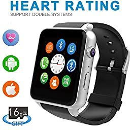 Smartlife ST-88 Smart Watch Bluetooth NFC Connectivity Sports Watch with Heart Rate Monitor,Touch Screen and Magnetic Charging for Android Samsung HTC/Apple Ios (Silver)