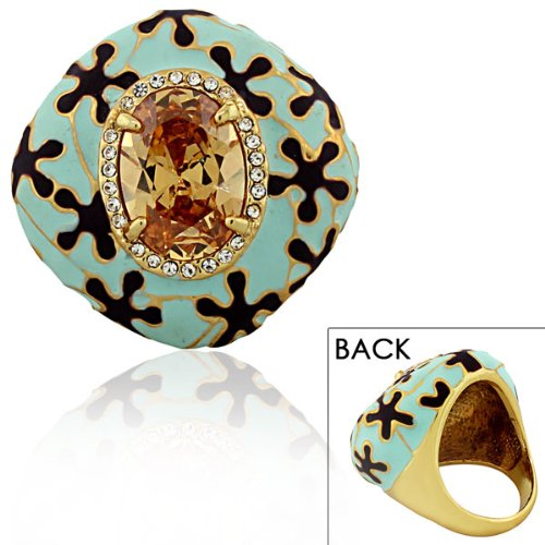 Stainless Steel Yellow Gold Plated Brown Cognac Crystals Cz Turquoise Green Blue Large Statement Cocktail Womens Ring Size 7