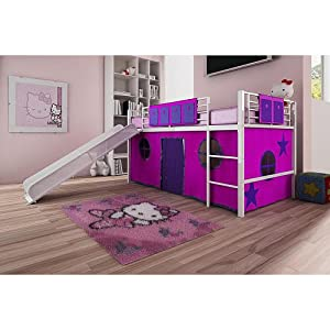 Dorel Home Products Fantasy Loft Bed Curtain Set - Pink - Kids Furniture - Children Bed - Bedroom - Easy Access and Vibrant Colors