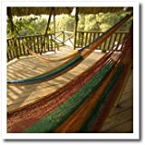 3dRose ht_85551_3 Hammock, Palms, Jaguar Reef Lodge, Belize-John and Lisa Merrill, Iron on Heat Transfer for White Material, 10 by 10-Inch