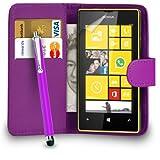 MOBILE JOY Nokia Lumia 520 Leather Wallet Flip Case Cover Pouch + Big Touch Stylus Pen + 2 x Screen Protector & Polishing Cloth ( Dark Purple )