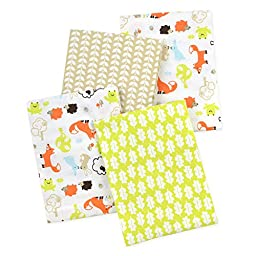 Carter\'s 4 Piece Flannel Receiving Blankets, Fox/Beige/Orange/Green