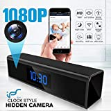 Hidden Camera WiFi Adapter 1080P Spy Camera Clock with Night Vision Spy Camera Mini with Motion Detection Camera Hidden Wireless with Playback - Real Time Home or Office Surveillance (Color: Black)