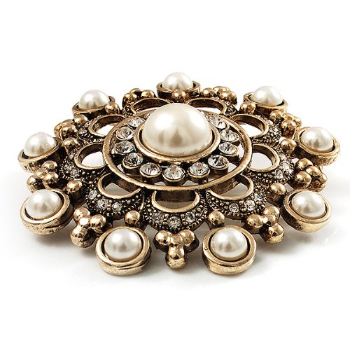Antique Gold Filigree Simulated Pearl Corsage Brooch 3