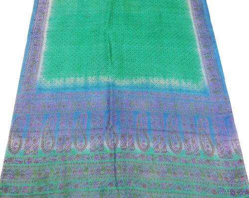 annata sari di seta misto riciclato tessuto paisley stampato antico tessuto artigianale decorazioni per la casa verde indiano sari