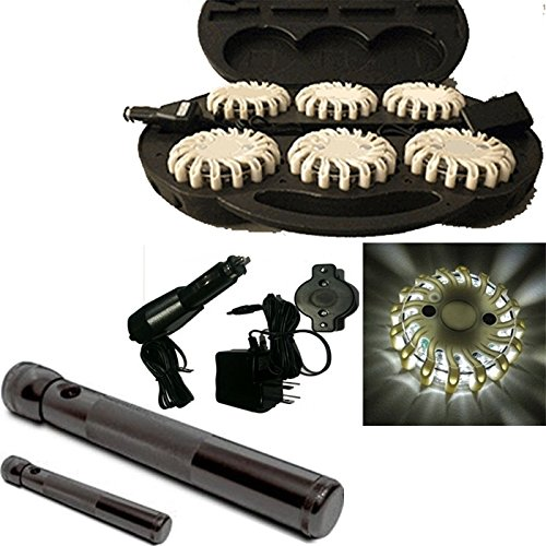 6 Pack White Rechargable Waterproof Led Magnet Safety Flare With 9 Operating Modes + Free Chargers And Travel Case And Led Flashlight Set!