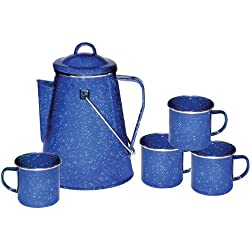 Stansport Enamel 8-Cup Coffee Pot With Percolator & 4 Twelve-Ounce Mugs by STANSPORT