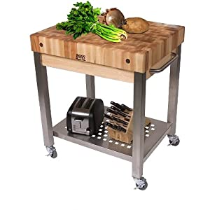 Cucina Americana Technica Kitchen Cart With Butcher Block Top Counter Top Height 4