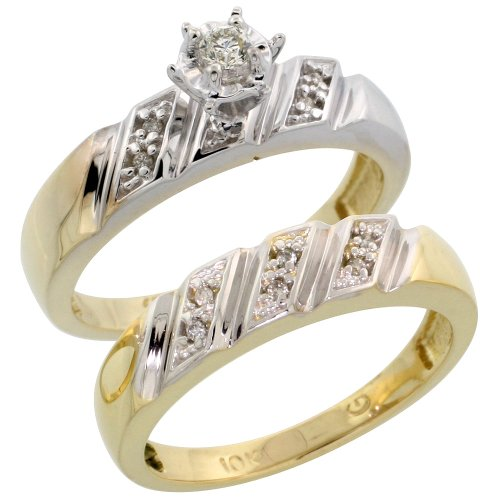 10k Gold 2-Piece Diamond Engagement Ring Set, w/ 0.13 Carat Brilliant Cut Diamonds, 3/16 in. (5mm) wide, Size 10